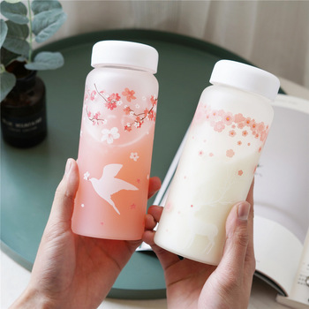 Sakura and Animals Glass Water Bottle