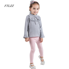 2018 New Autumn Winter Baby Girl Shirts Gray Flare Sleeve Children Fashion Kids Girls Clothes School Blouses Kids Blouse