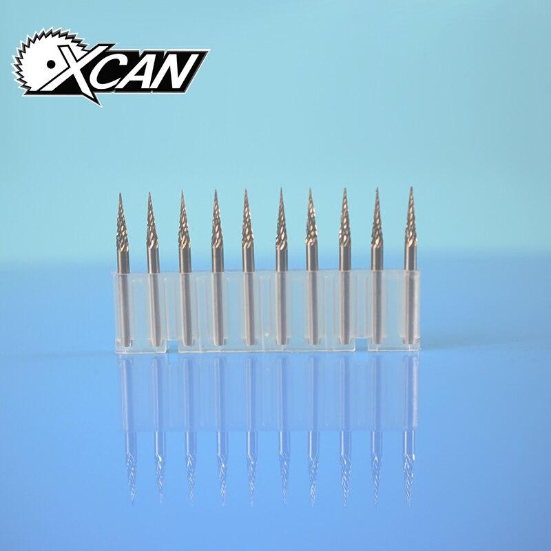XCAN 10pcs carbide rotary burr set 2 line 3mm wood engraving bit file 3mm shank core drill bits rotary tools Dremel Electric DIY
