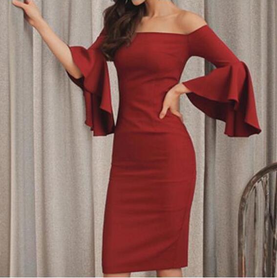 [New Sale] 2017 Latest New Women Work Design Slash Neck Flare Sleeve OL Dresses Black , Blue , Wine Red color S,M,L,XL