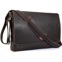 TIDING Genuine Leather 15 Inch Laptop Messenger Bag Men Simple Vintage Style Cross Body Shoulder Briefcase