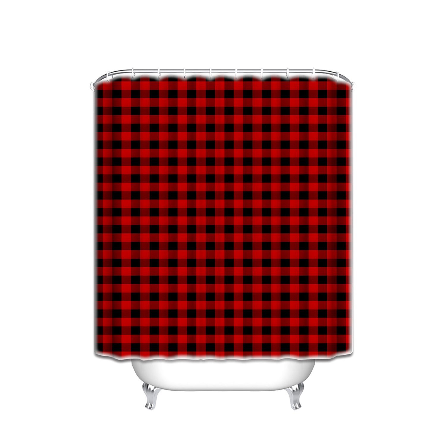 Memory Home Customize Waterproof Rustic Red Black Buffalo Check Plaid  Pattern Print Polyester Fabric Bathroom Shower