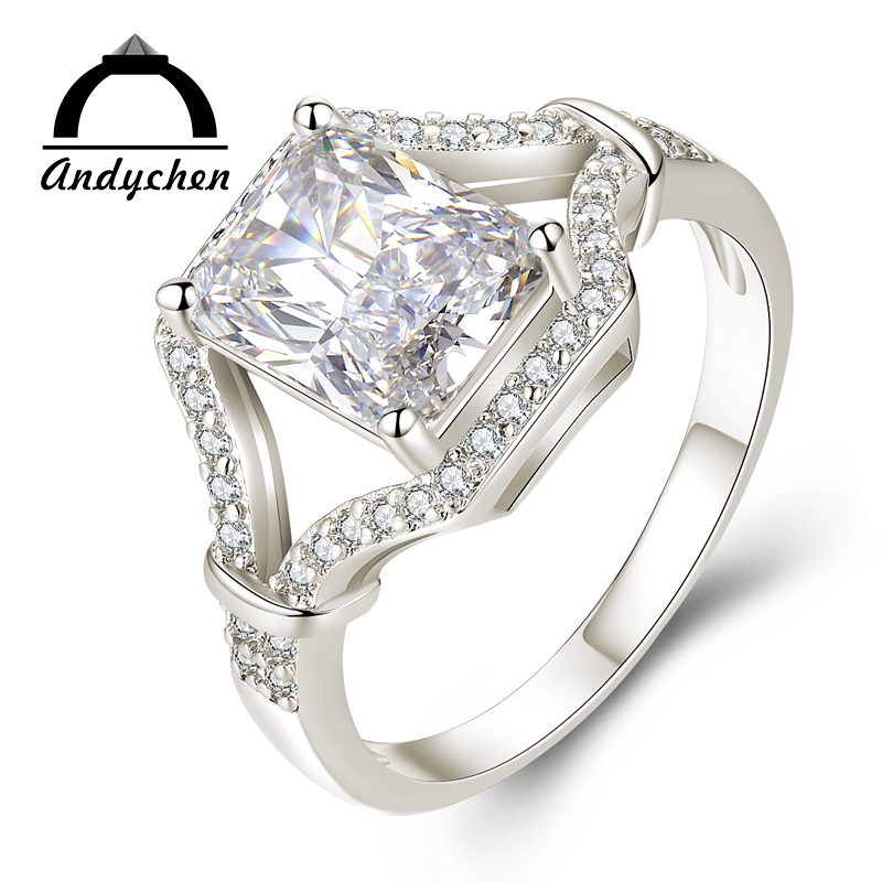 AndyChen White Gold Color Rings for Women Engagement Wedding Noble clear AAA Zircon Jewelry Bague Bijoux Size 6 7 8 9 H544