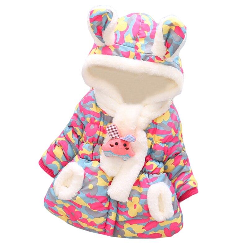 BOTEZAI Fashion 3 Pcs Winter Girls Christmas Party Coats Scarf Rabbit  Warm Baby Girls Cute Rabbit Ears Hooded Camouflage Jacket