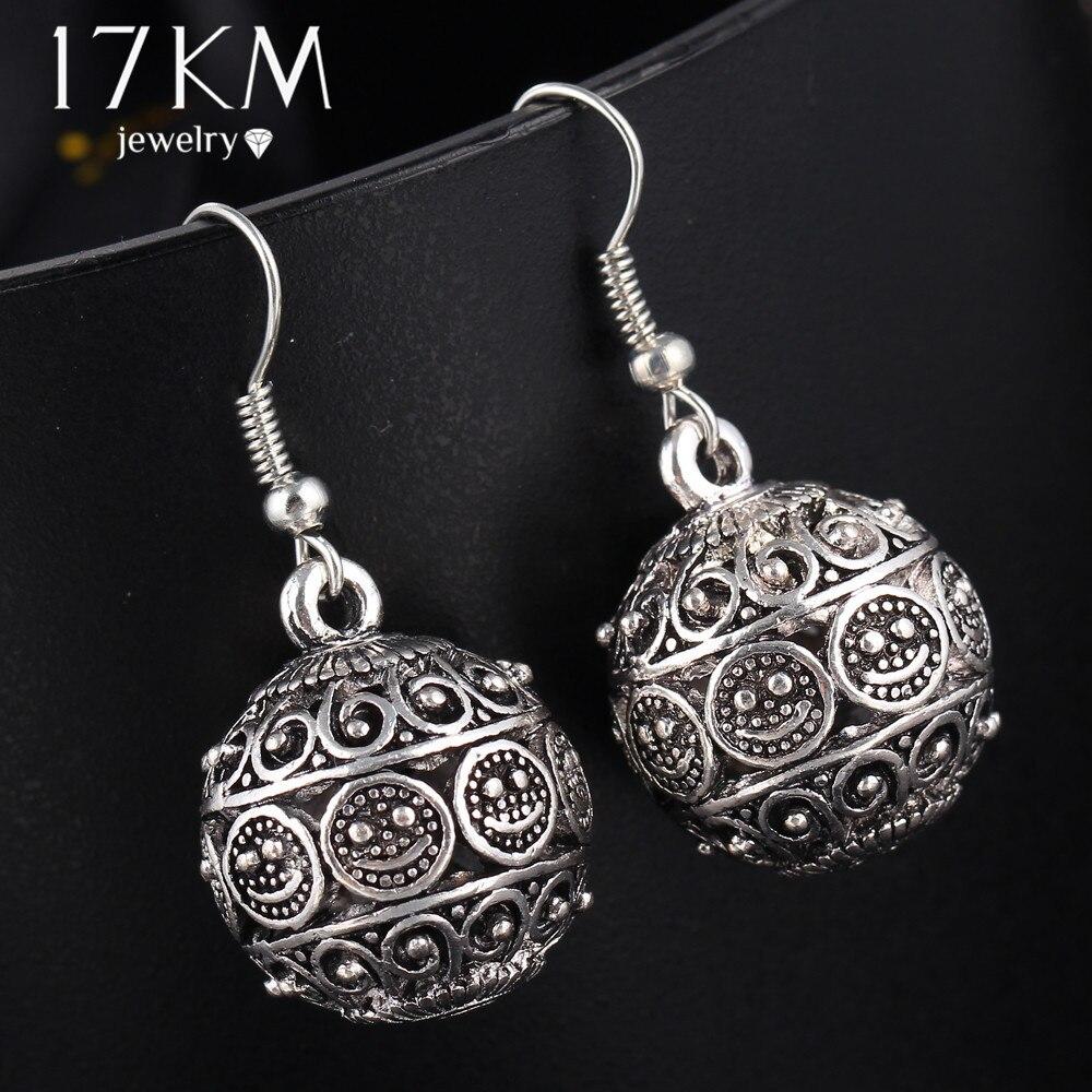 17 Km Marke Böhmen Lange Anhänger Ball Drop Ohrringe Für Frauen Vintage Silber Farbe Perle Tibet Punk Ohrringe Pendiente Ohrringe GläNzende OberfläChe