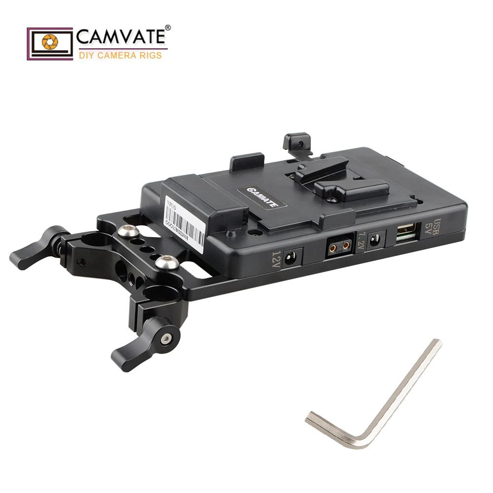 CAMVATE V Blocco Piastra di Montaggio di Alimentazione Splitter con 15 millimetri Rod Morsetto D1524camera accessori per la fotografia