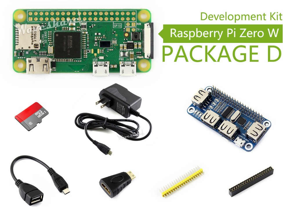 Raspberry Pi Zero W Package D Basic Development Kit Micro SD Card, Power Adapter, USB HUB, and Basic Components raspberry pi zero w package e basic development kit 16gb micro sd card power adapter 2 13inch e paper hat and basic components