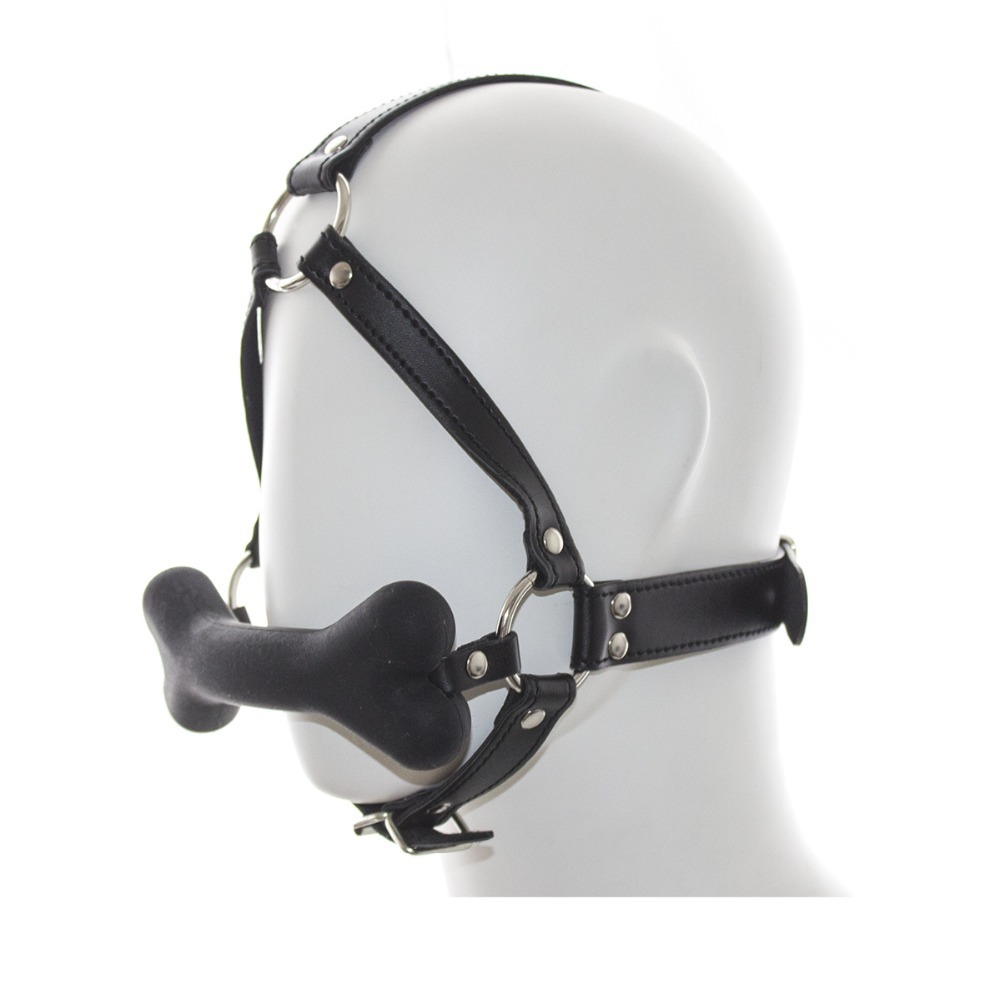 2015 Dog slave devices harness silicone dog bone plug hush mouth yoke gags open mouth gag mouth mask mouth plug gear sex toys image