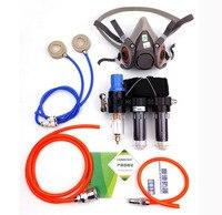 2 em 1 função da indústria fornecido ar alimentado sistema do respirador com a máscara de gás química do laboratório da metade da cara 6200