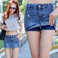 High Waist Shorts Direct Selling Buttons Skort Women Summer Style Shorts Skirt Hot Jeans For Sexy Slim Hip Short Femme 2017