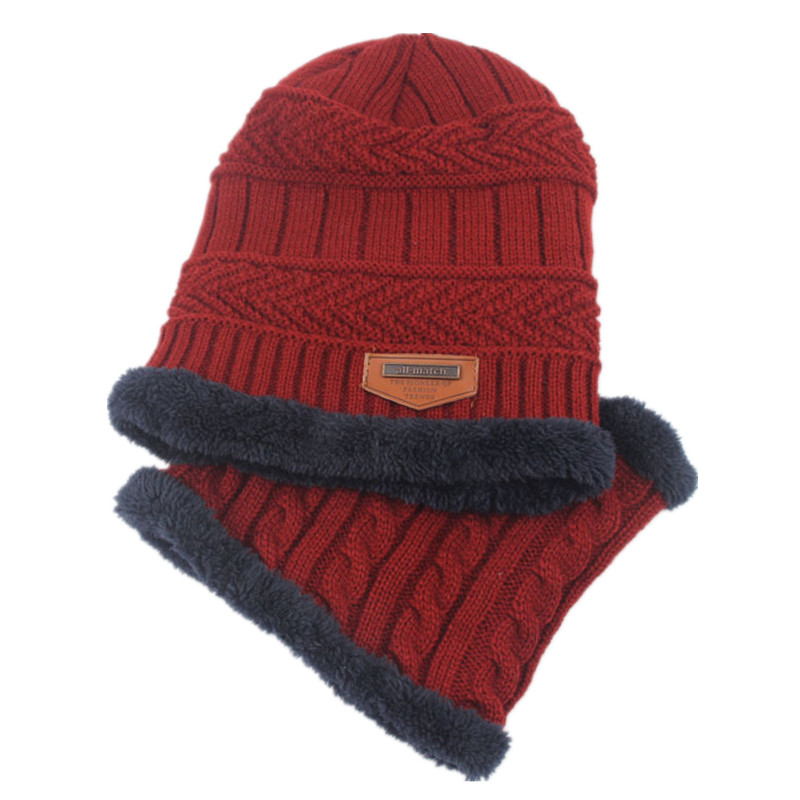 Autumn Winter Plus Velvet Hat Scarf Set Child 2pcs Warm Children Winter Wool Beanies Knitted Hats Collar For 1-6 Years Old Kids