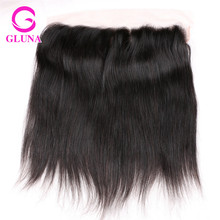 Gluna hair products Brazilian Virgin Hair Straight 8″-22″ Human Hair Extension Lace Frontal Closure 13*4 Swiss Lace DHL Free