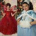 Meninas do natal Vestidos de Inverno Ano Novo Crianças Roupas de Festa Da Princesa Elsa Anna Trajes Cosplay Crianças Encapuzados Vestidos de Casamento