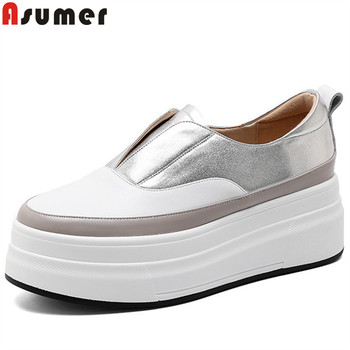 ASUMER size 34-40 new flats shoes women round toe genuine leather shoes flat platform shoes mixed colors women flats 2020