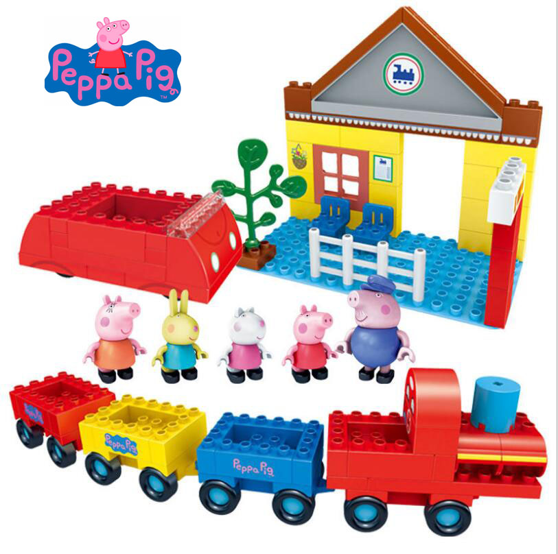Genuine Peppa Pig 2018 Deluxe series Scene simulation go for an outing with family and friend educational Building block set