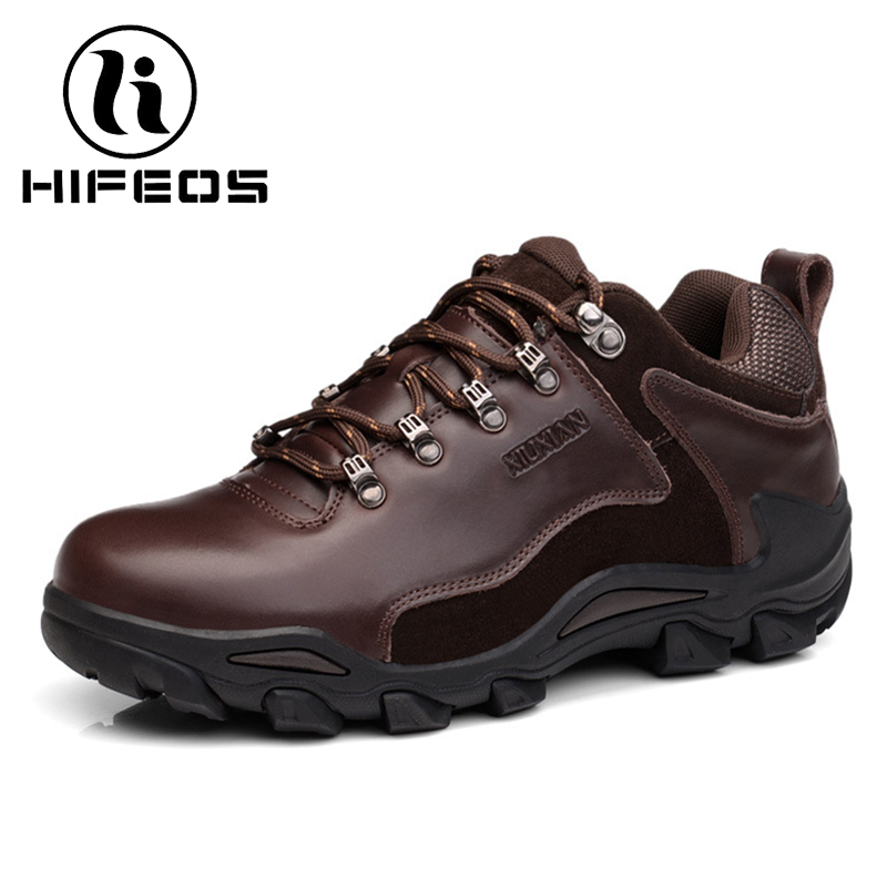 HIFEOS winter men lace-up waterproof outdoor sneakers hiking shoes anti-slip ware-resistant high-top boots breathable M056 hifeos outdoor hiking shoes anti slip boots lace invisible increased men s shoes comfortable breathable sneakers climing m065