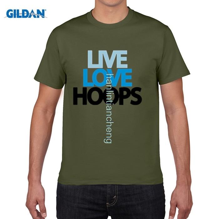 GILDAN Personality O Neck Short Sleeve Live Love Hoops Guy T shirt For Sale Large Size Basketballer Team Men Print T Shirt