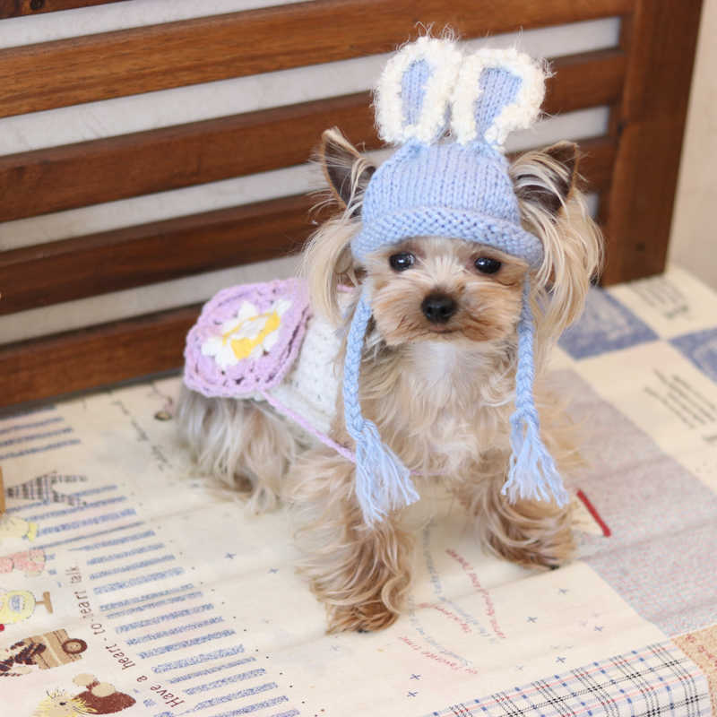 35c19f9a857 Handmade Cap Blue Furry Knitted Kawaii Pets Store Warm Lovely Dog Hats for  Small Pets Cats
