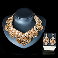 LAN PALACE Nigeria beads bridal jewelry set nigerian glass set for women necklace and earrings for party free shipping