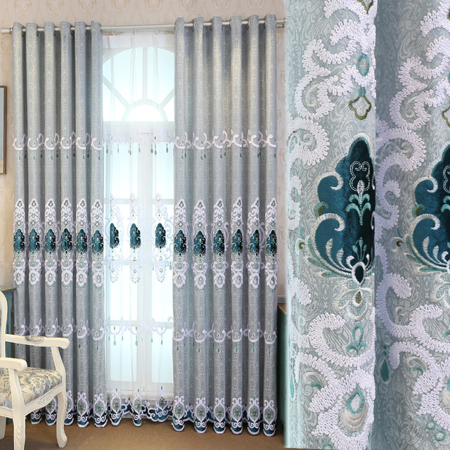 Custom Curtains High Grade European Style Curtain Bedroom Simple Modern  Italian Velvet Embroidery Cloth Curtain Tulle