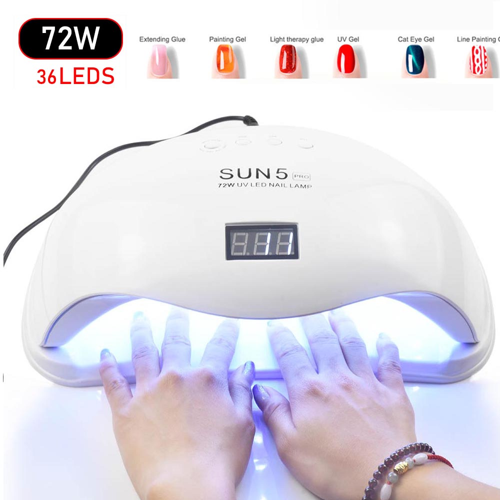 New 72W SUN5 Pro UV Led Lamp Nail Dryer For All Types Gel 36 Leds UV