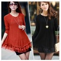 Lace Women Knitted Sweater 2015 New Winter Women Fashion Neck Casual Pullovers Plus Size Long Tricot Crochet
