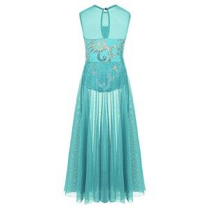 Image 3 - Dziewczęta elegancka sukienka maxi liryczne kostiumy do tańca nowoczesny taniec baletowy sukienka łyżwiarstwo gimnastyka trykot zużycie sceniczne