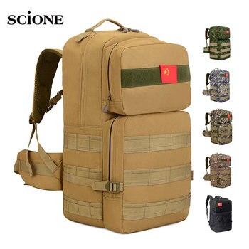 50L Camping mochila táctica militar Molle mochila mochilas senderismo al aire libre bolsa de Camo Mohila ejército deportes bolsas tatico XA660WA
