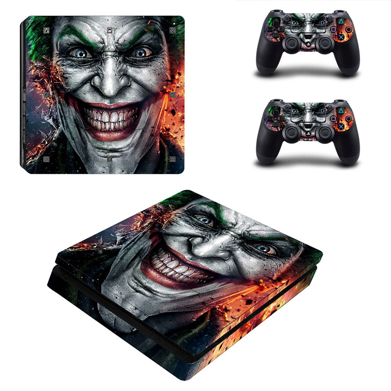 Joker Style Vinyl Sticker for PS4 Slim Skin Cover Sticker for PlayStation 4 Slim Console  amp  2 Controllers