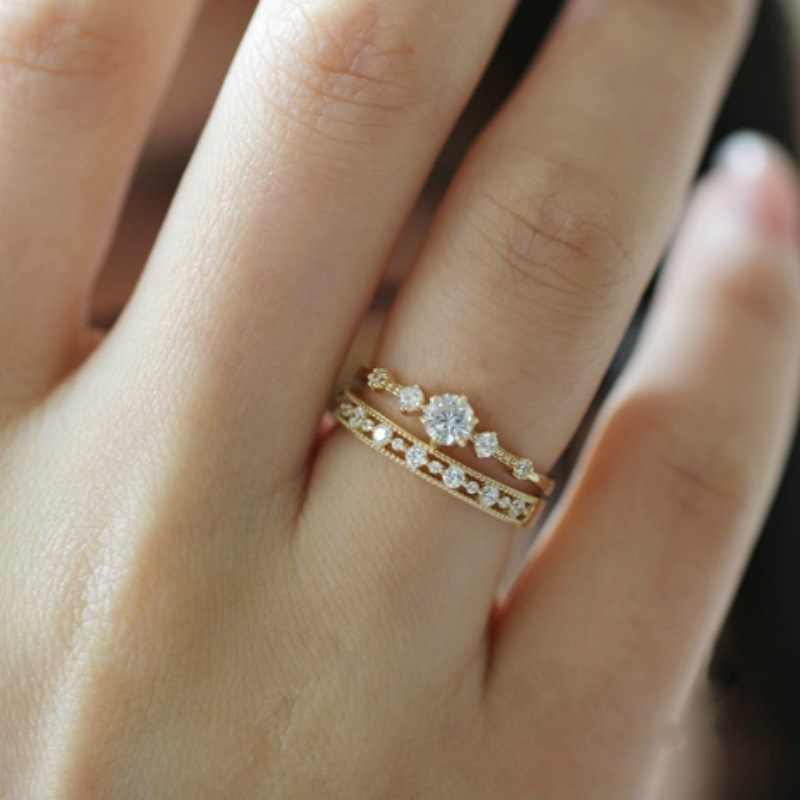 Tisonliz Simple Female Rings For Women Promise Wedding Engagement Finger Gold Rings Copper Rhinestones Minimalist Jewelry Gifts