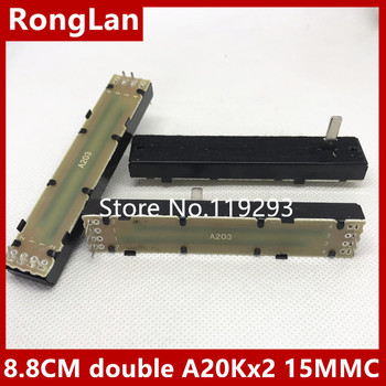 [BELLA] 8.8cm 88mm double- fader potentiometer A20K  A20Kx2 [ internal wiring foot ] 15MMC--10PCS/LOT