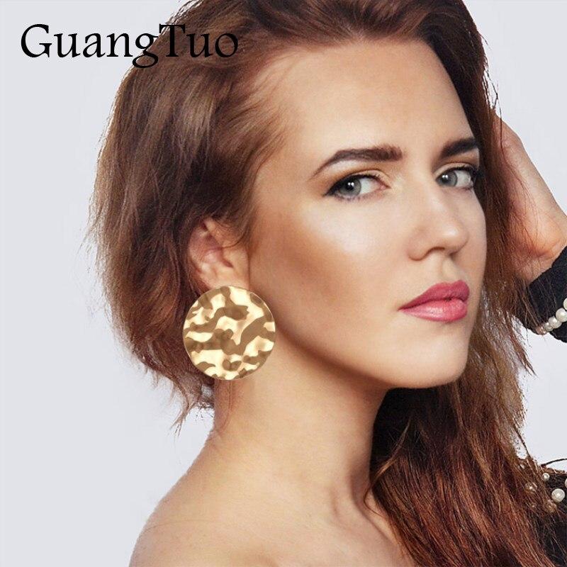 EK2196 European & America Exaggerated Big Dangle Earrings Uneven Smooth Irregular Metal Round Drop Earring For Women Jewelry