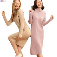 Women Fashion Knit Dress Wool Slim Long Cashmere Straight Long Sleeve Winter Solid Sweaters