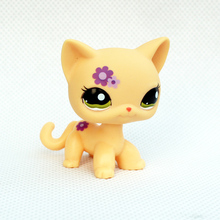 pet shop lps toys Rare pet shop lps toys  standing cat cute short hair cat #1962 yellow Animal kitten with purple flowers