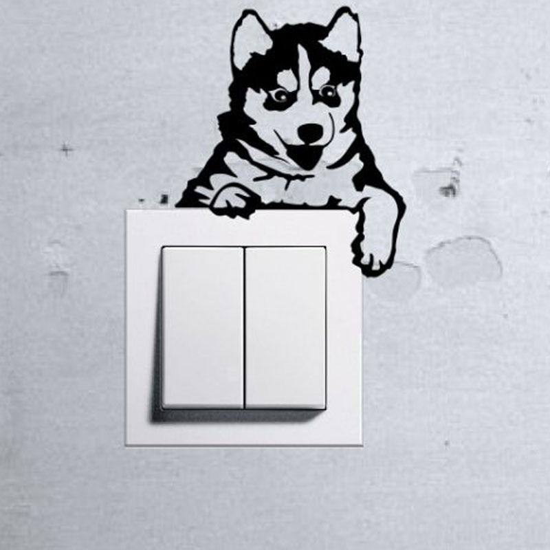 Perro lindo bebé mascota interruptor de luz divertido tatuajes de pared de vinilo pegatinas decoración arte 3ss0014