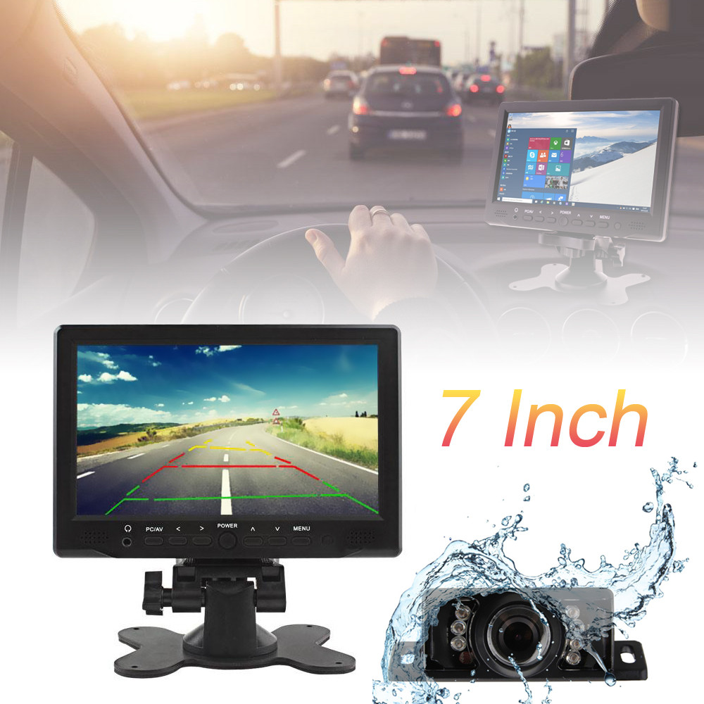 Universal 7 Inch TFT LCD Screen Car Monitor Support AV/VGA / HDMI with 7 IR Lights Night Vision Water-proof Car Rear View Camera escam t10 10 inch tft lcd remote color video monitor screen with vga hdmi av bnc usb for pc cctv home security system camera
