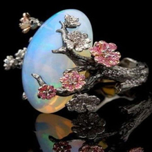 Vintage Plum Tree Flower Ring Female New White Fire Opal Moon Jewelry Accessories Fashion Party Banquet Exquisite
