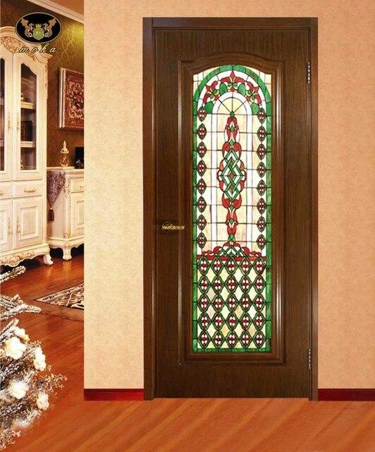 Custom wood windows colored villa houses European church wall art ...