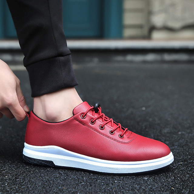 2e733dfdad Luxury Brand Men Flat Shoes Casual Pu Leather Fashion Trendy Black Blue Red Shoe  Mens Lace Up Board Flats 2018 Autumn Winter new