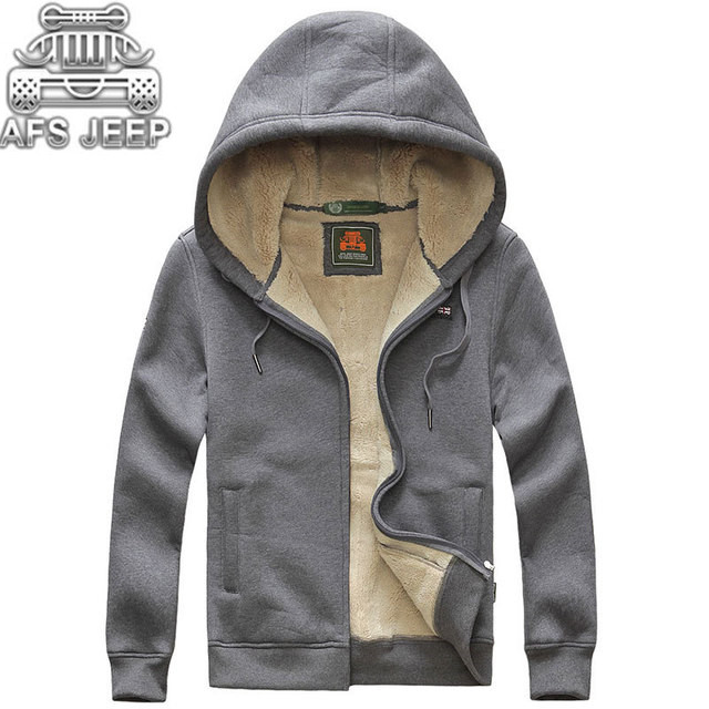 Men Hoodies Thick Fur Inside Autumn Winter 2018 Knitting Lining Welded Neatly Stick Out Dense Warm Hooded Coats Brand AFS JEEP