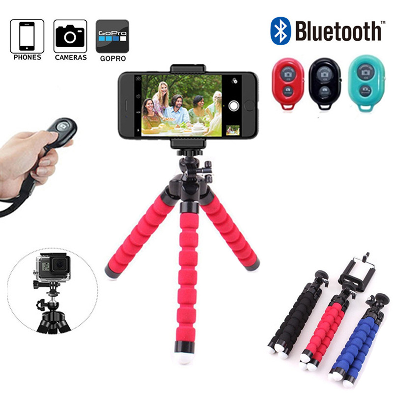 Sponge Tripod Phone Stand Three Legs Holder With Wireless Remote Shutter Mini Camera Selfie Holder For Mobile Phone IPhoneTablet