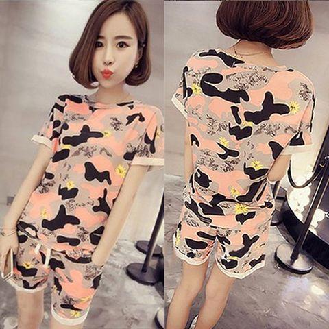 Women's Camo Print Tshirt + Shorts Sleep Wear O-neck crimping Sleeve Home Nightgowns Girl Pajama Sets 2pcs Sleep & Lounge Multan
