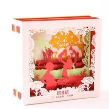 3D Pop Up I Love Mom Greeting Cards Birthday Christmas Mothers Day Gift W215