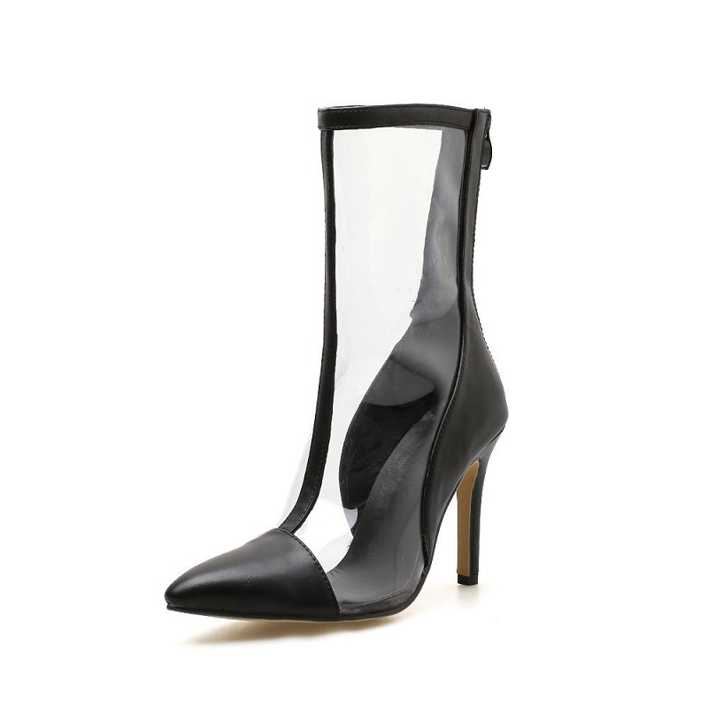 2019 Europe and America transparent pvc stitching stiletto pointed high-heeled tube female boots black ljj 02162019 Europe and America transparent pvc stitching stiletto pointed high-heeled tube female boots black ljj 0216