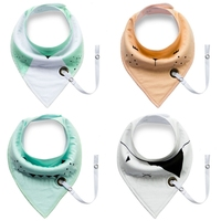 4 PCS Baby Infant Toddler Cotton Triangle Bibs Saliva Towel With Pacifier Clip W30
