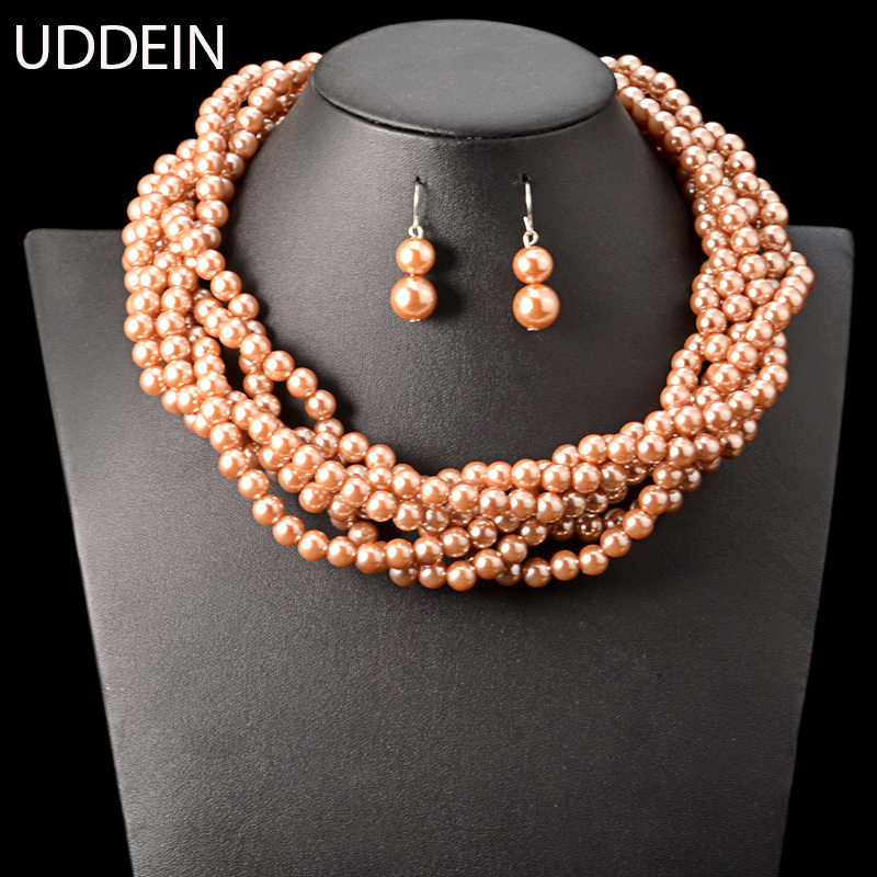 UDDEIN African beads jewelry set multi layer wind simulated pearl necklace women Indian wedding jewelry big order price chokers