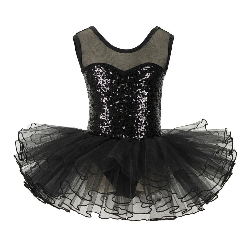 Black Sequins Kids Party Fancy Costume Girls Ballet Tutu Leotard Dress For Performance