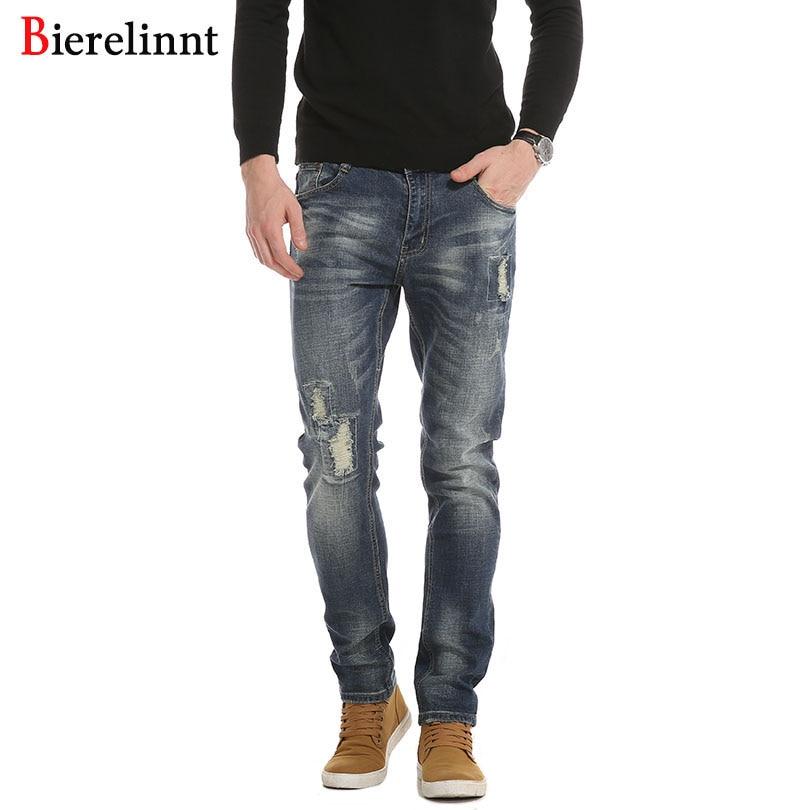 Bierelinnt Ripped Hole 2017 New Retail & Wholesale Cotton Slim Fit Jeans Men,Good Quality Denim Long Pants Men Jeans,PG6388#
