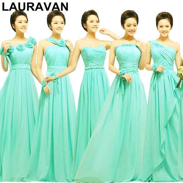 Vestidos Festa Turquoise Blue Green Girls Women Plus Size Chiffon Bridesmaid Dresses Bride Maids Plus Size Bridemaid Dress 2019