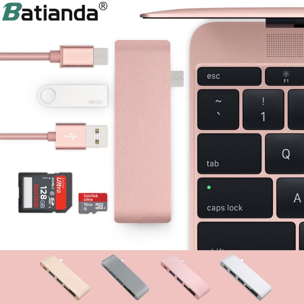 5 em 1 USB-C adaptador com 2 portas usb 3.0 micro leitor de memória sd tipo-c usb 3.0 hub para novo macbook pro ar a1932/retina 12